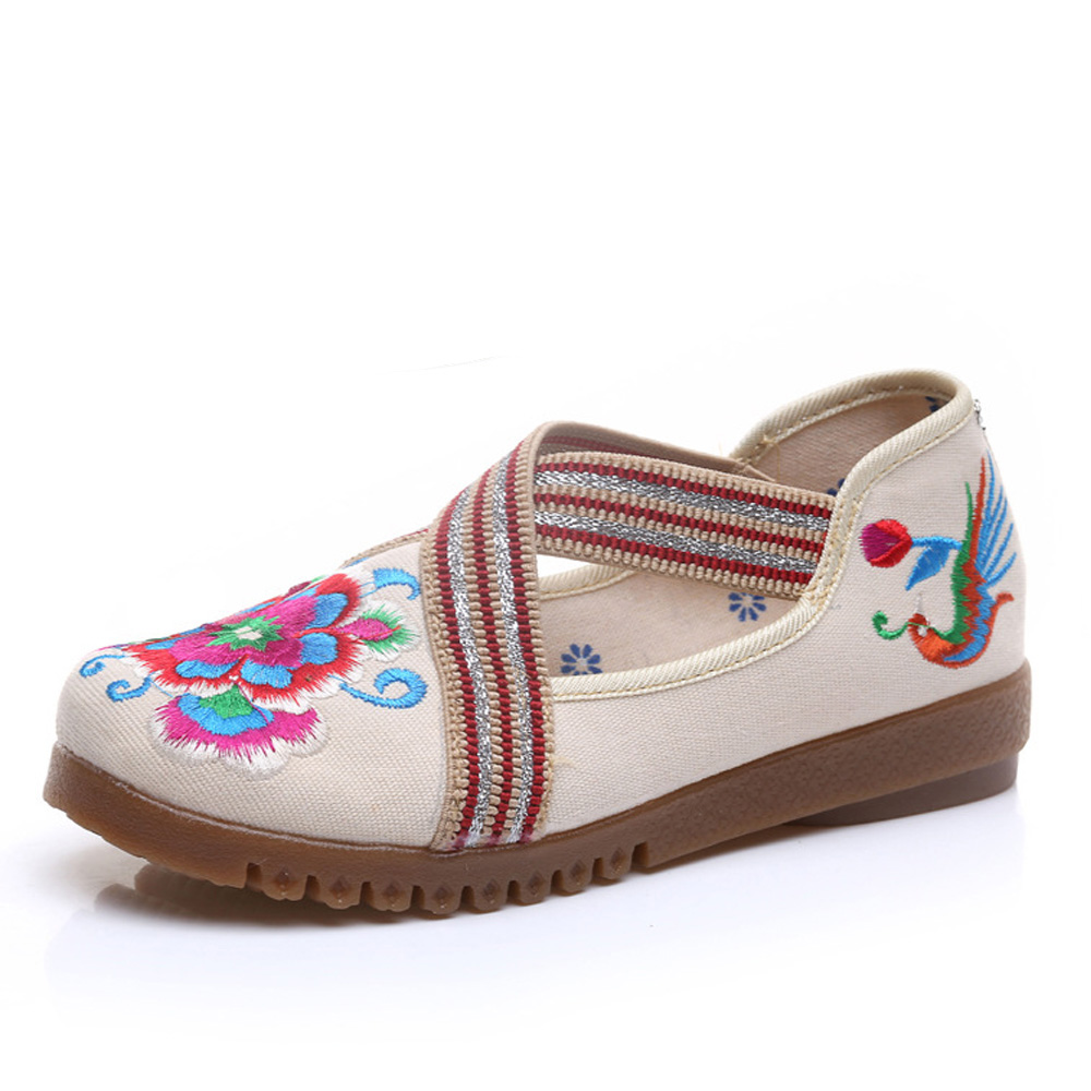 Vintage Women Shoes 2017 spring new canvas embroidered women's canvas cloth shoes Tendon Bottom  Size 34-41 vintage embroidery women flats chinese floral canvas embroidered shoes national old beijing cloth single dance soft flats