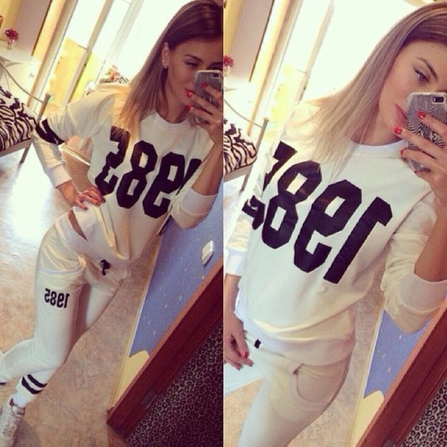 42f7cfe5d1 40 8889 Autumn Winter Number Print Tracksuits Black Pullover Women  Sportswear Long Sleeve Casual Two Piece ...