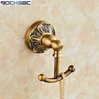 Europeu de Metal Retro Casaco Ganchos Acessórios Do Banheiro de Cobre Cheio de Roupas Cabide Gancho de Parede Antigo Esculpido