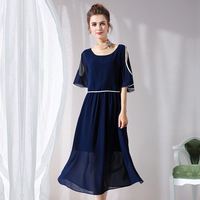 Long Gauzy Piping Cape Dress With Cut Out Shoulder Plus Size Women Dresses Blue Summer L to 4xl 5xl