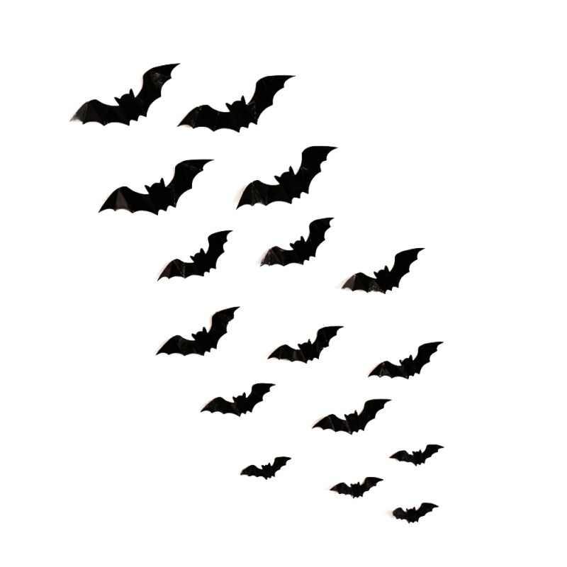 16pcs Halloween 3d Black Bats Decorations Pvc Window Wall Door
