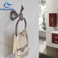 Elegant Antique Bronze Bathroom Towel Rack Holder Embossed Round Towel Ring Hanger Towel Bar