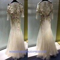 Роскошные вечернее платье трудоемких вышивка 3D цветок длинное платье платья партии Удивительные платье макси роковой