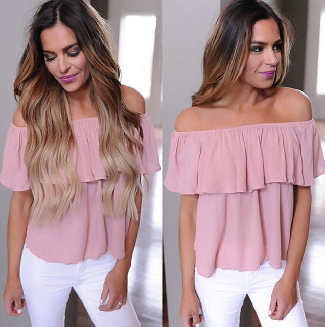 New Women Ladies Clothing Tops Summer Casual Loose Ruffle Off Shoulder Tops Off Shoulder Blouse Clothes Women
