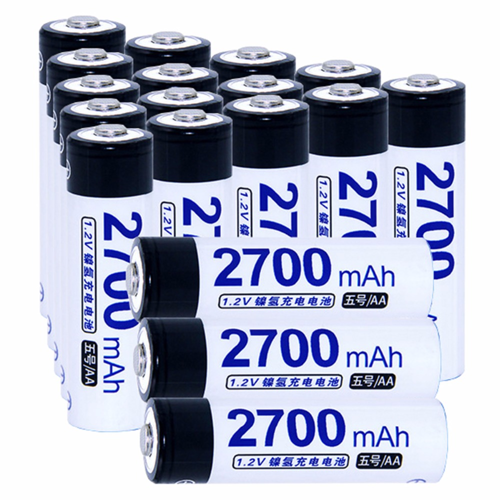 True capacity! 18 pcs AA 1.2V NIMH AA rechargeable batteries 2700mah for camera razor toy remote control flashlight 2A batterie