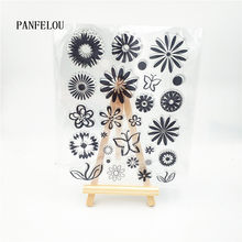 PANFELOU lovely flowers Transparent Clear Silicone Stamp/Seal DIY scrapbooking/photo album Decorative clear stamp sheets(China)