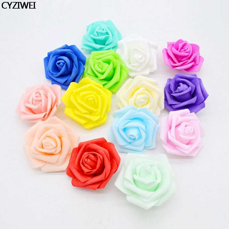 10pc 6cm Foam Rose Artificial Flowers Head For Wedding Decoration Home Garden Xmas ornament DIY Wreath Scrapbooking Craft Access