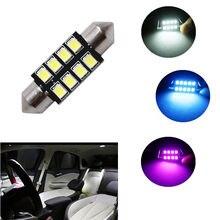 Lâmpada led automática para carro, 1 peça, 31mm, 36mm, 39mm e 42mm, 2835 leds, c5w mapa do interior do automóvel lâmpada de leitura dc12v branco azul rosa