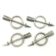 Pendant For Necklace Arrow In Round Metal Craft Jewelry DIY Findings Charms 29mm Ancient Silver Tone 10Pcs недорого
