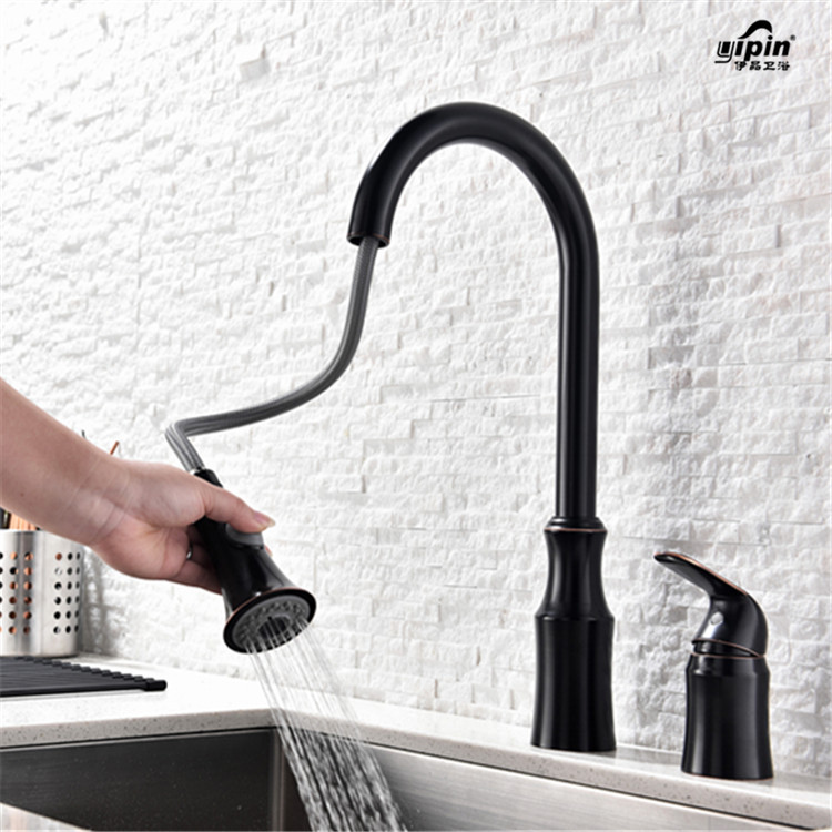 Electroplate Black Kitchen Faucets Brass Pull Out Bathroom Faucet Spray Single Handle Single Hole Sink Tap Hot Cold Deck Mounted new pull out sprayer kitchen faucet swivel spout vessel sink mixer tap single handle hole hot and cold