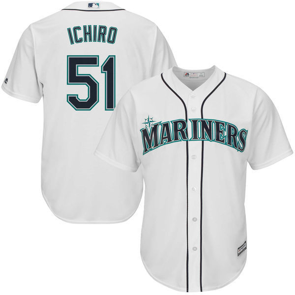 Men's Seattle Mariners Ichiro Suzuki Baseball Home White Official Cool Base Player Jersey