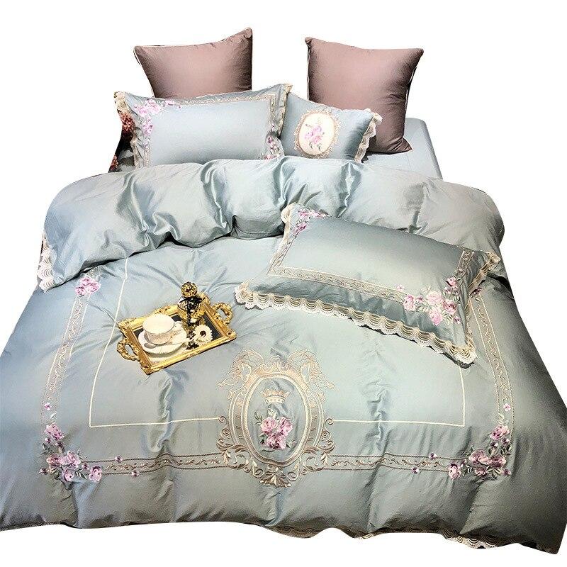 Quatre ensembles de draps de lit en pur coton, courtepointes, textiles de maison de style européen 1.8 m, literie brodée double Satin d'été