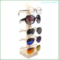 Free Shipping 5 Pair Cheap Environmental Popular Detachable Tree Grain Wood Spectacles Display Stand Holder Organizer