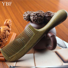 Round Handle Thickening Green sandalwood Wood Hair Combs for Massager Antistatic Bridal Wedding Pettine Wooden Brosse Cheveux