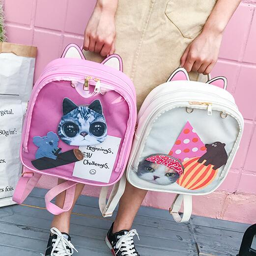 Women Ita Bag Bagpack Transparent Backpack Rugzak Lovely Cat Ear PU Leather Backpacks for Teenage Girls School Bags MochilaWomen Ita Bag Bagpack Transparent Backpack Rugzak Lovely Cat Ear PU Leather Backpacks for Teenage Girls School Bags Mochila