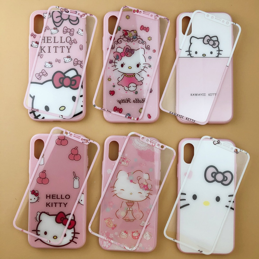 Cute Hello Kitty Glass Back Cover Case For iphone 7 6 6s 8 plus KT Phone Case For iphone X XR XS MAX +Tempered Glass Front FilmCute Hello Kitty Glass Back Cover Case For iphone 7 6 6s 8 plus KT Phone Case For iphone X XR XS MAX +Tempered Glass Front Film