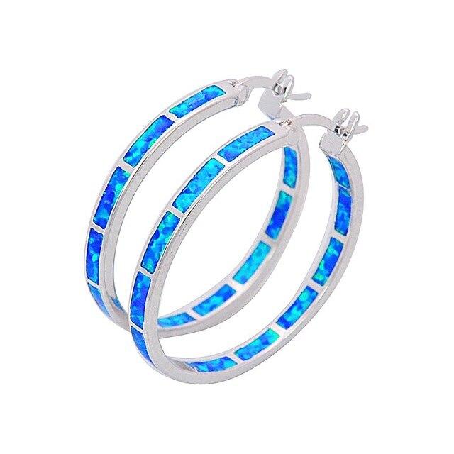Round Blue Fire Opal Earrings Silver Filled For Women Fashion Jewelry  Double Earrings EJL1631001 b52fca94eb5d