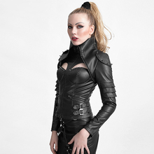 The Woman Warrior Leather Jacket with Futurism Style Punk Rivet Studded Sexy High Collar Tight Corset Coats