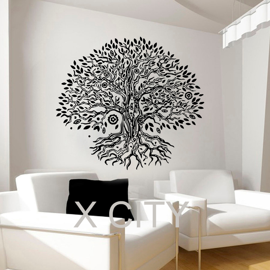 Pipal bo tree wall decals namaste vinyl sticker yoga for Door vinyl design
