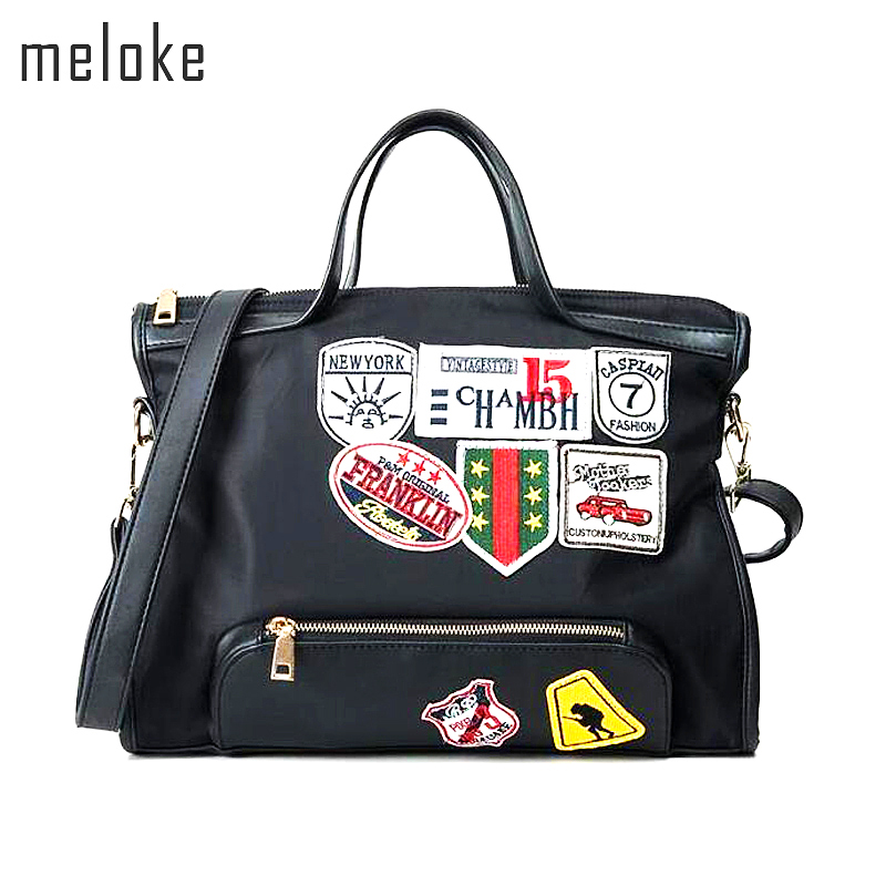 Meloke 2018 Canvas Schoudertas Street Beat Badge Handtas Dames Grote Capaciteit Casual Tote Handtas Patch Messenger Bags