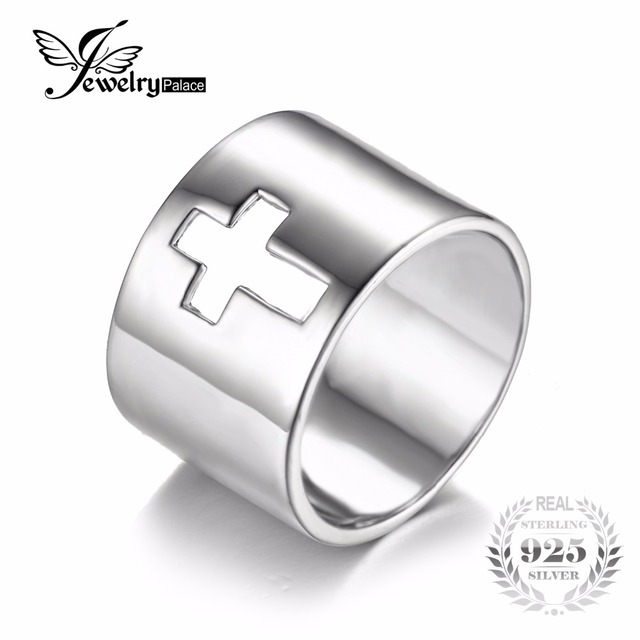 JewelryPalace 925 Sterling Silver Huge Sideways Cross Anniversary Wedding Band Ring Jewelry For Women Classic Gift For Lover