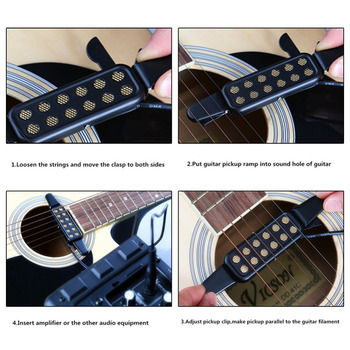 12 Sound Hole Magnetic Pickup Transducer for Acoustic Guitar Musical Instruments Accessories