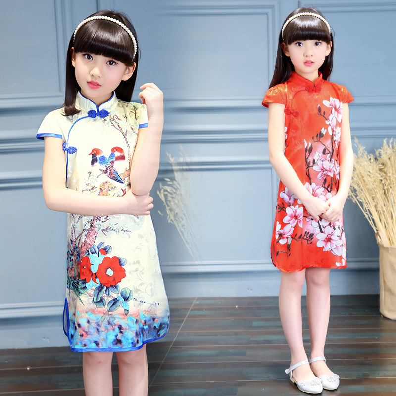 Fashion Chinese Style Traditional Cheongsam Costume Dress Girls Qipao Dress Girls Princess Party Performance Dress High Quality dress coat traditional chinese style qipao full sleeve cheongsam costume party dress quilted princess dress cotton kids clothing