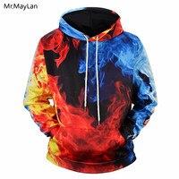 Hipster Printing Red Blue Fire Flame 3D Jackets Men/Women Fashion Pullover Hoodies Boys Streetwear Hood Sweatshirt Tracksuits