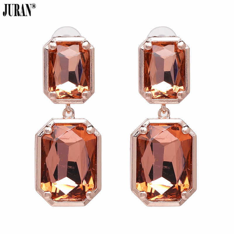 JURAN Exclusive Shiny Crystal Statement Dangle Drop Earrings For Women Fashion Imitation Charm Zinc Alloy Brinco Wedding Jewelry