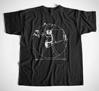 T Shirt Da Vinci Rock Drummer Music Guitar S M L XL DaVinci Metal Punk Biker