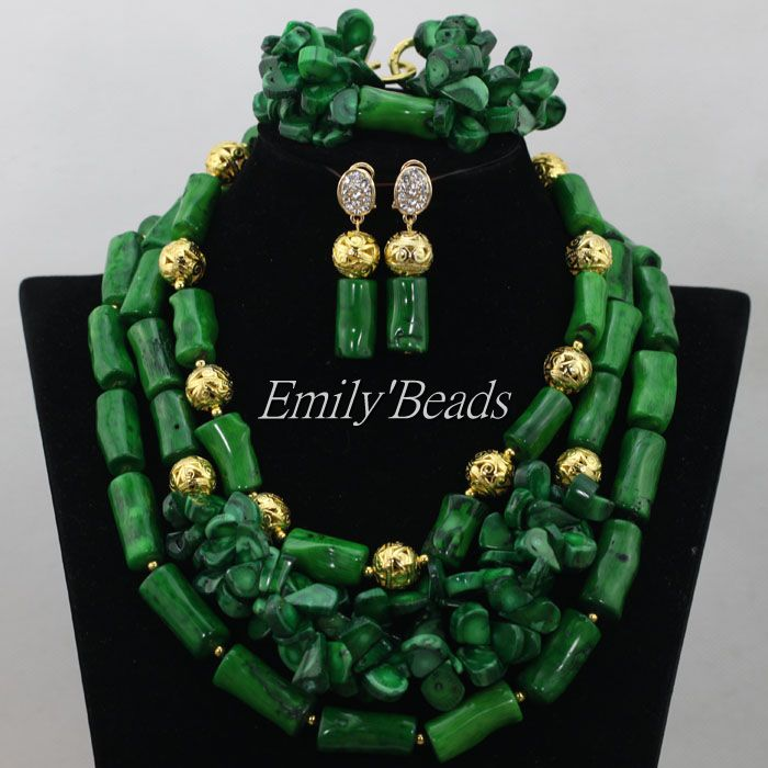 2016 New Nigerian Wedding African Beads Jewelry Set Necklace Gold Green Coral Beads Bridal Jewelry Sets Free Shipping CJ487 african wedding beads necklace green coral nigerian bridal jewelry sets trendy coral fashion jewelry set free shipping abk079