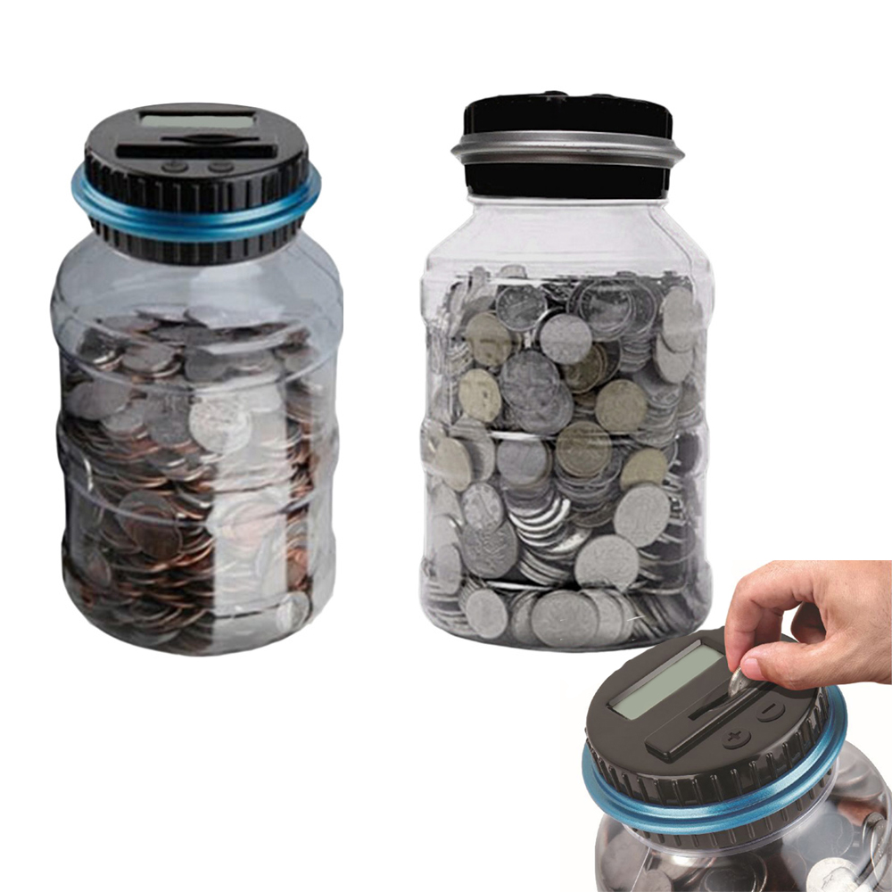 2.5L Electronic Piggy Bank Counter Coin Digital LCD Counting Coin Money Saving Box Jar Coins Storage Box For USD EURO Money