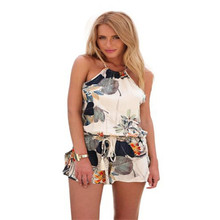 2016 Fashion Women Sexy Casual Round Neck Halter Sleeveless Backless Cross Strap Drawstring Waist Flower Print Playsuit Jumpsuit