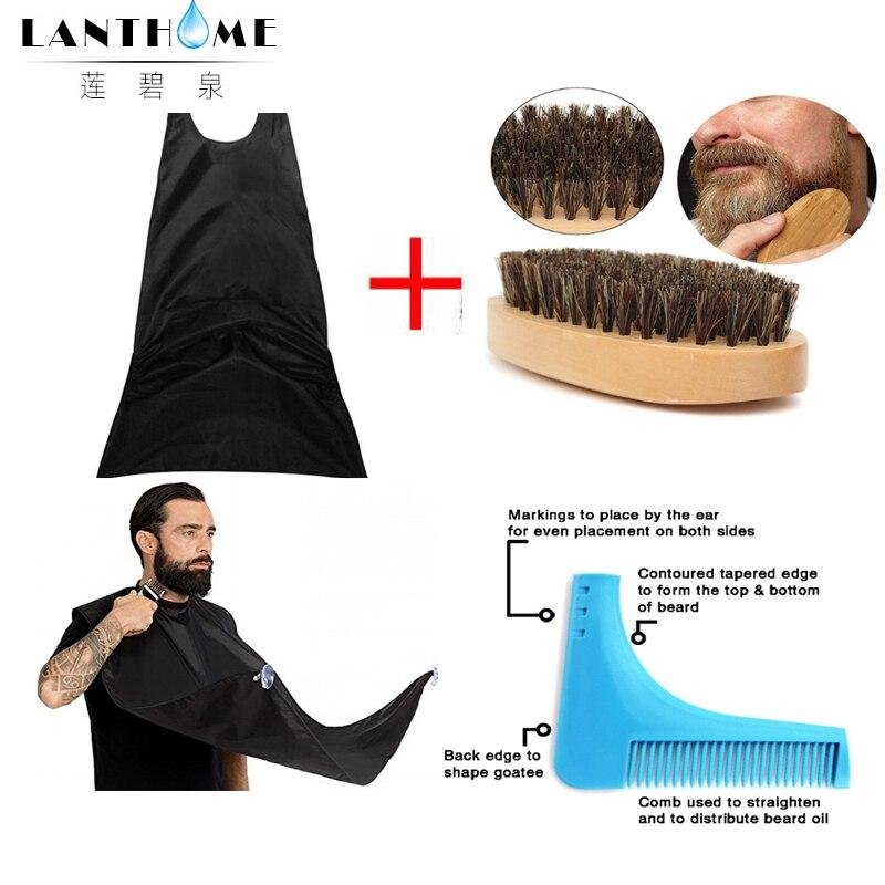 3pcs natural wooden beard comb boar bristle hair brush lice comb men beard apron barber salon cape hairdressing for haircut 2