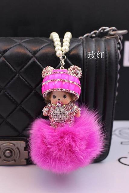 Monchhichi rhinestone Key Chain 8CM fox fur ball monchhichi crystal keychain porti clef keyrings llaveros mujer chave keyring