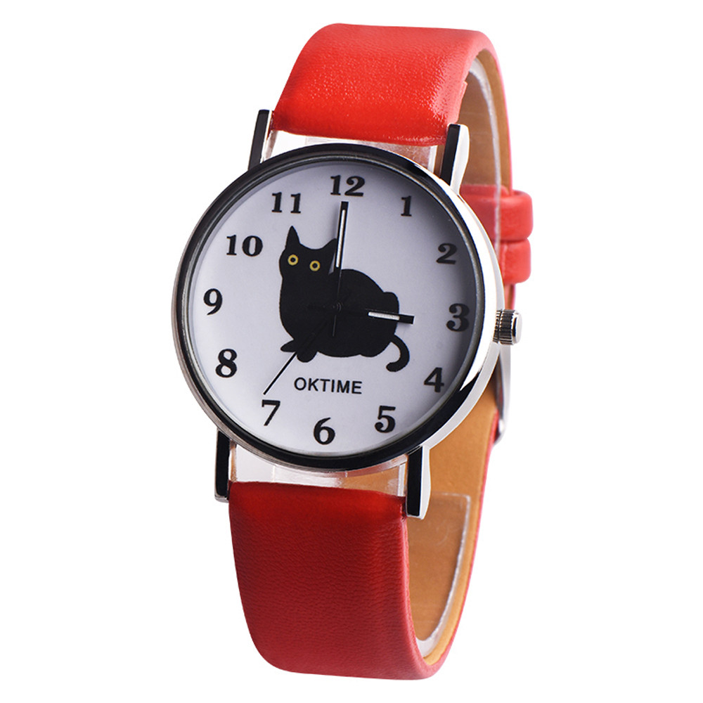 OKTIME Womens Mysterious Black Cat Faux Leather Analog Quartz Watch Women Watches Bracelet Watch Ladied #4m03