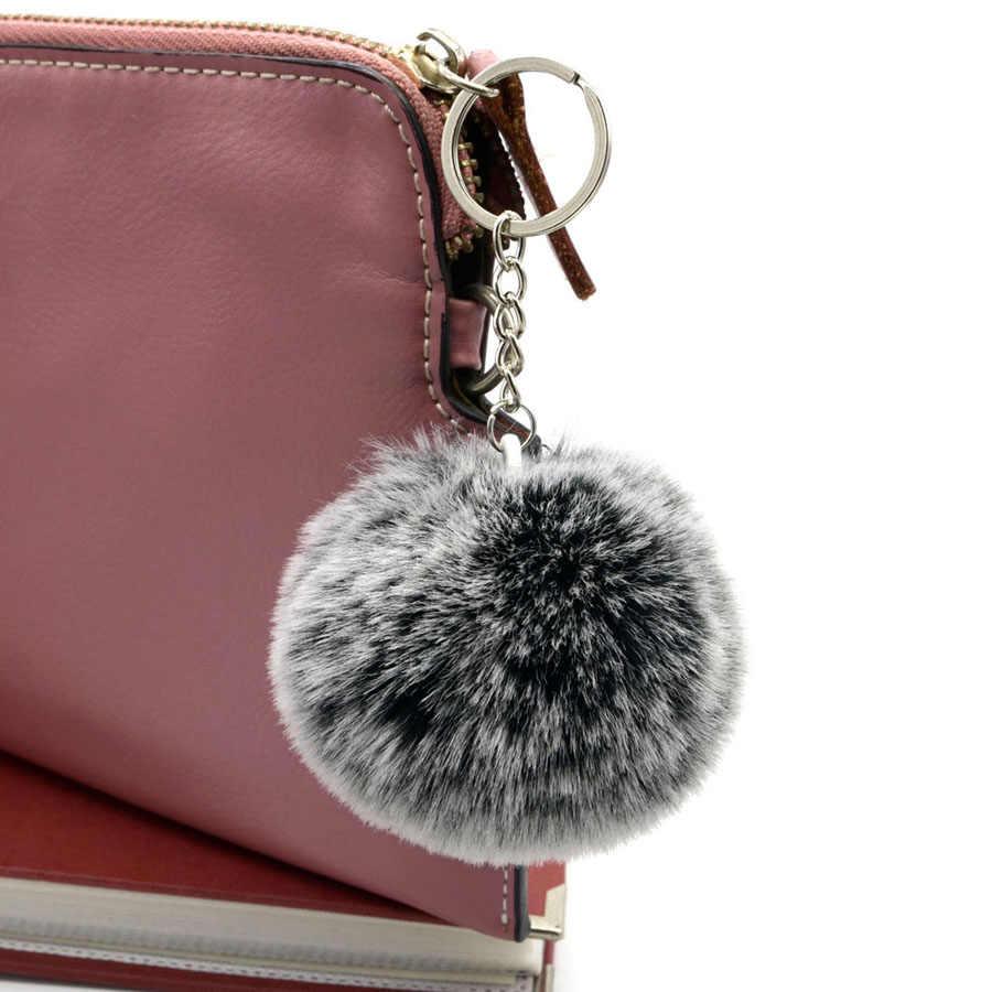 Chaveiro de pele de coelho falso covit geada branco fofo 8cm pompom bola chaveiro para meninas femininas