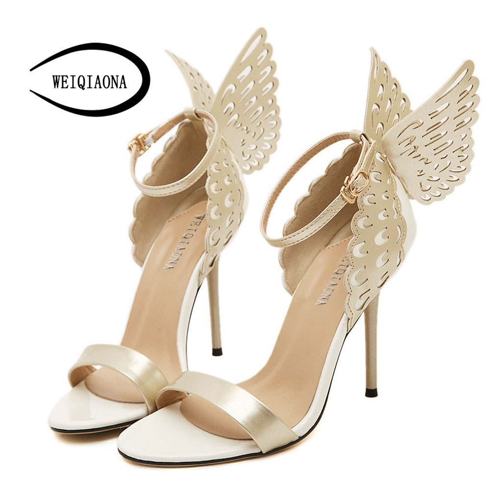 WEIQIAONA Big Size Butterfly Heels Sandals Thin High Heels