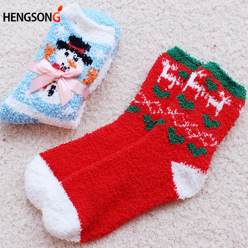 New 1 Pair Cozy Warm Soft Women Winter Autumn Home Christmas Socks Girl's Festival Gift Socks HO968188