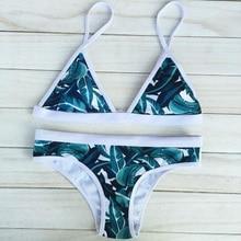 Newly Design Retro Style Simple Model Brazilian Sexy Printing Swimsuit Bikinis Halter Padded Feminino Swimwear FMS19