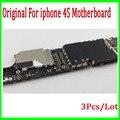 3 pçs/lote 100% test & original desbloqueado para iphone 4s motherboard, 16 gb para o iphone 4s mainboard com fichas completas, frete grátis