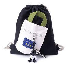 Canvas String Drawstring School Backpack Bag Cinch Sack School Tote Gym Bags Sport Pack