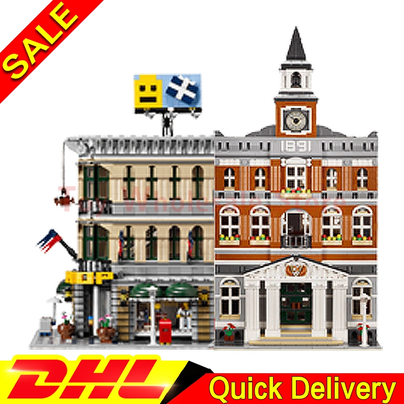Lepin 15003 town hall + Lepin 15005 Grand Emporium City Street Model Building Blocks Bricks Kits lepins Toy Clone 10224 10211 new lepin 15003 2859pcs the topwn hall model building blocks kid toys kits compatible with 10224 educational children day gift