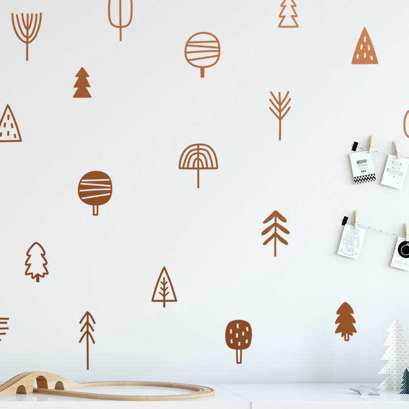 חמוד יער אורן עץ קיר מדבקות משתלת אמנות תפאורה יער ויניל קיר מדבקות ילדים שינה טבעי קישוט