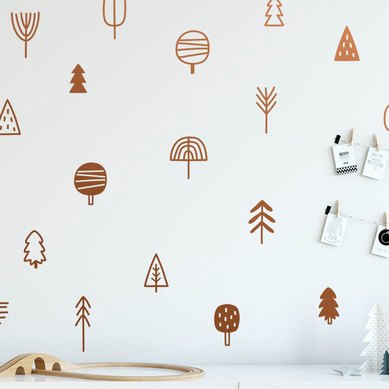 Cute Woodland Pine Tree Wall Decals Nursery Art Decor Forest Vinyl Wall Stickers Kids Bedroom Natural Decoration