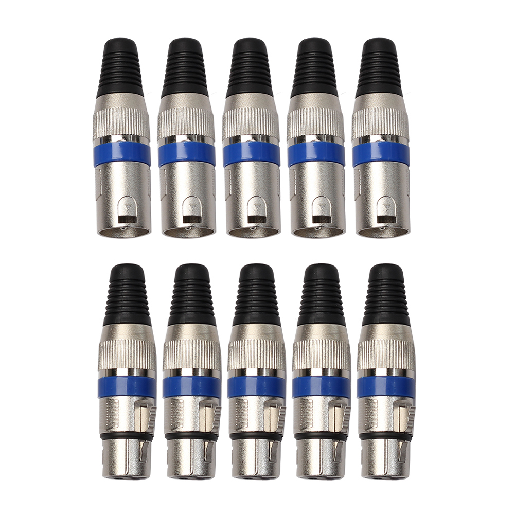 5Pairs XLR 3 Pin Microphone Audio Cable Connectors Female MIC Female Jack Male Plug Mixer Peripheral Male/Female Connectors diy hf 4 pin male female jack set adapters connectors black silver 2 pcs