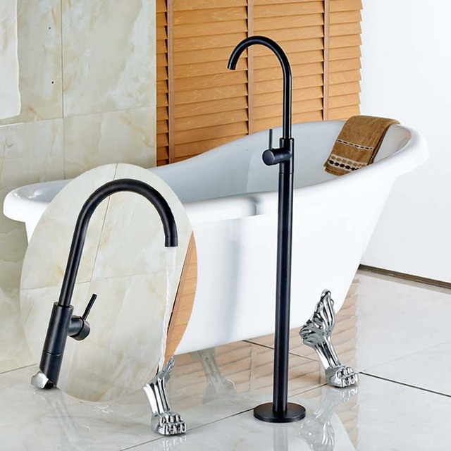 Modern Oil Rubbed Bronze Bathroom Floor Mounted Tub Faucet Filler Mixer  Tap