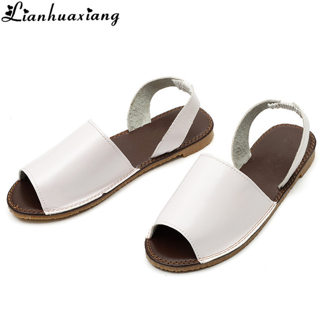 7cd3d481bc5e Black White Peep Toe Flat Sandals New Fashion Summer Soft Insole Fisherman Sandals  Women Shoes Elastic Band 7N0305