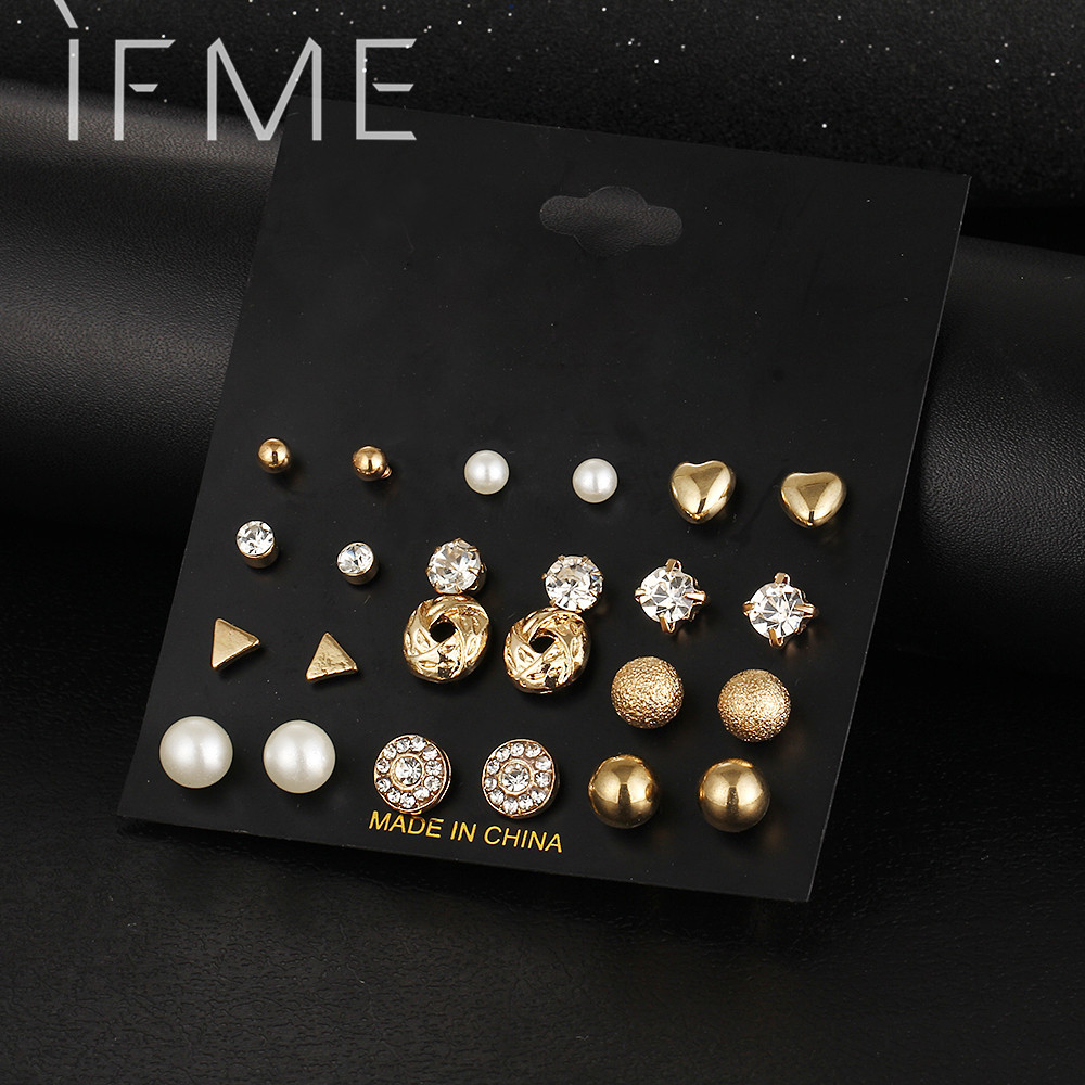 12 Pcs Set Crystal Alloy Round Ball Gold Color Stud Earrings Vintage Silver Color Simulated Pearl Earring Set For Women Brincos