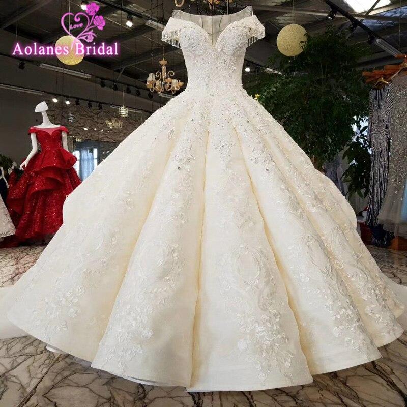 AOLANES Robe De Mariage De luxe robes De mariée 2018 robes De mariée Royal Train dentelle Appliques perlées arabe robes De mariée
